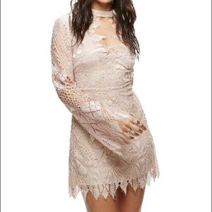Free People ivory deco crochet minidress  NWT